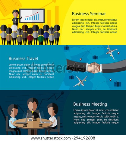 Business infographic activities banner of businessman and businesspeople doing seminar, meeting, and business travel with partnership background template layout design, create by vector - stock vector