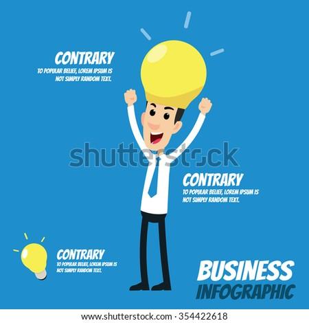Business infographic - Bulb head businessman, Businessman with lightbulb idea - stock vector