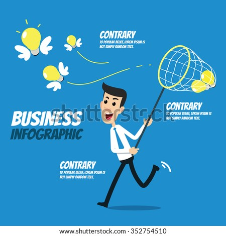 Business infographic - Businessman trying to catch lightbulb idea - stock vector
