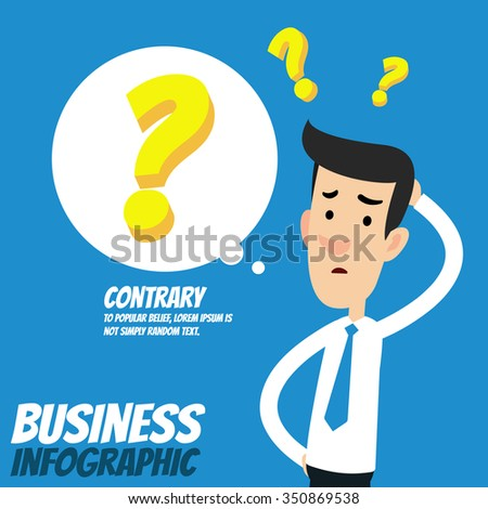 Business infographic - Businessman  with question mark  - stock vector