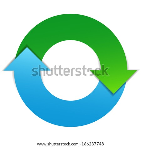 Business infographic design concept with two arrows life cycle diagram. EPS10 vector illustration isolated on white background. - stock vector