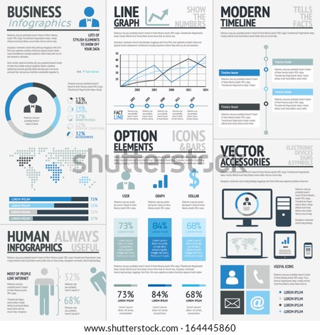 Business infographic elements blue vector EPS10 - stock vector