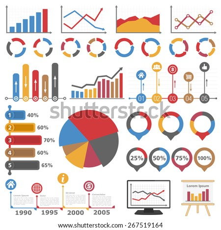 Business infographic elements collection, set of different graphs, charts and diagrams, vector eps10 illustration - stock vector