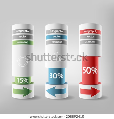 Business infographic elements. Paper charts at a discount. Illustration, vector. - stock vector
