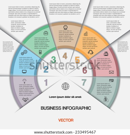 Business infographic for success project and other Your variant. Vector illustration template with text areas on seven positions
