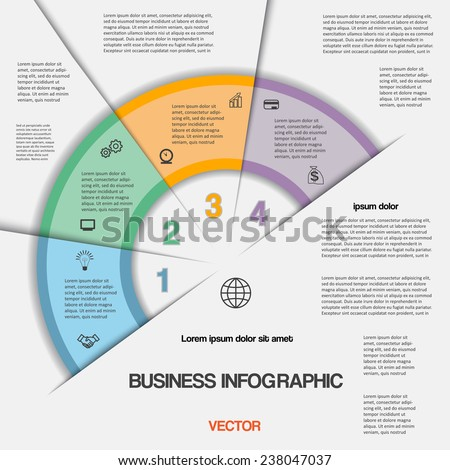 Business infographic for success project and other Your variant, vector illustration template with text areas on four positions