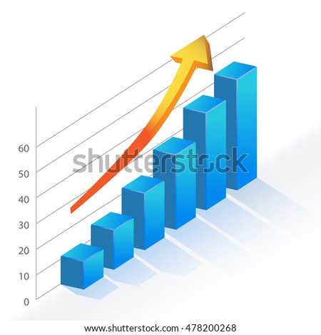 Business infographic positive growth bar chart statistics vector illustration