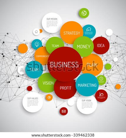 Business Infographic schema template with colorful circles