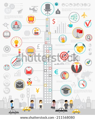 Business Infographic set with charts and other elements. Vector illustration. - stock vector