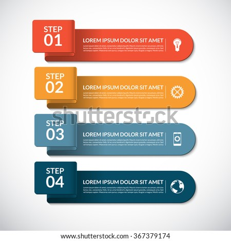 Business infographic template. Curved paper banners and infographic elements. Vector background with 4 steps, parts, options  - stock vector