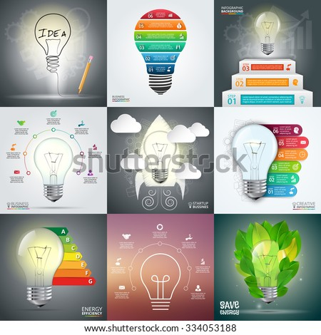 Business infographic template set with lightbulb. Vector illustration. Can be used for workflow layout, banner, diagram, number options, web design, timeline elements - stock vector