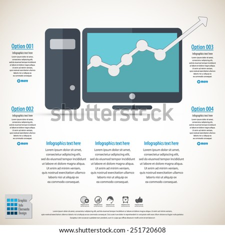 Business infographic with desktop computer - EPS10 vector.All elements in separate layers (background,icon,text). Can be used in any any project. - stock vector