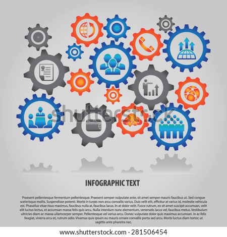 Business Infographic with Gears - Illustration; Background with gears and icons for business, teamwork, internet, comunication, network, finance, growth, cloud technology and global concepts.  - stock vector