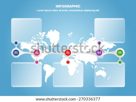Business infographic with map and 5 options. Vector illustration  for workflow layout, diagram, number options and web design