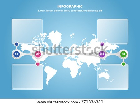 Business infographic with map and 4 options. Vector illustration  for workflow layout, diagram, number options and web design