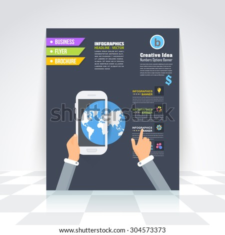 Business Infographics and World Symbol Brochure, Cover, Flyer. Flat Style Numbered Banner and Background