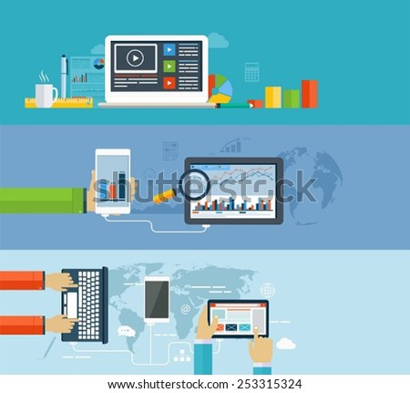 Business infographics by using modern of digital devices for internet browsing, data transfer on mobile devices, reporting, statistical charts and graphs - stock vector