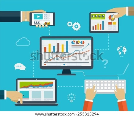 Business infographics by using modern of digital devices for internet browsing, reporting, statistical charts and graphs - stock vector