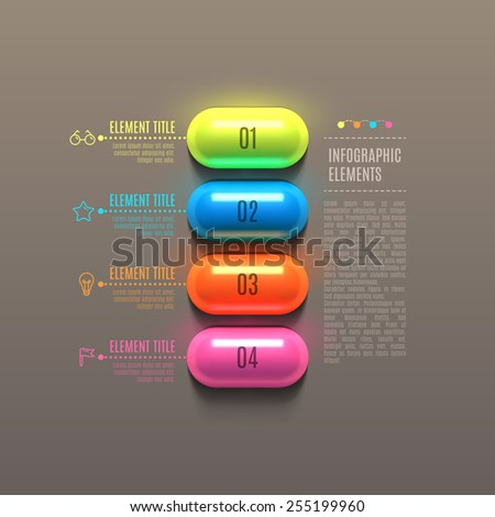 Business Infographics capsule concept. 3d vector illustration. Can be used for web design and workflow layout - stock vector