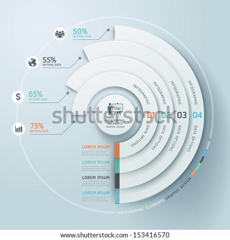 Business Infographics circle origami style Vector illustration. can be used for workflow layout, banner, diagram, number options, step up options, web design. - stock vector