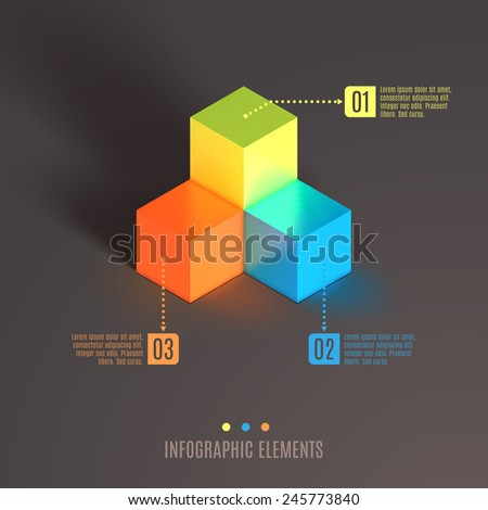 Business Infographics cube. 3d vector cube isometric illustration.  - stock vector