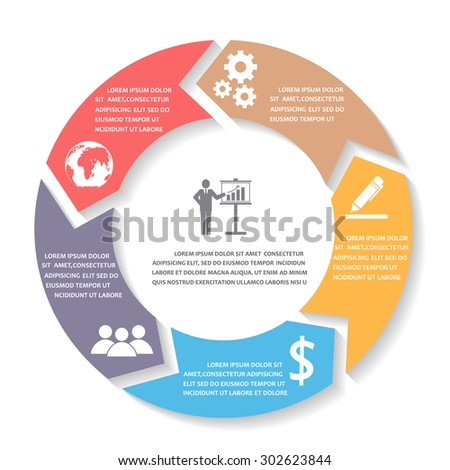 Business Infographics elements. circle style. can be used for workflow layout, banner, diagram, number options, step up options, one page web design, background. Vector illustration - stock vector