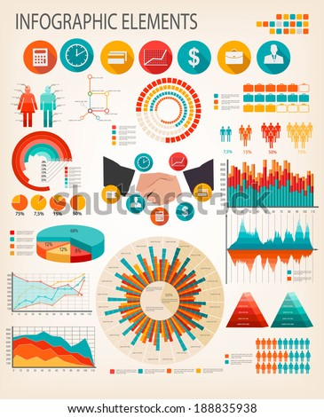 Business infographics flat template. Vector.  - stock vector