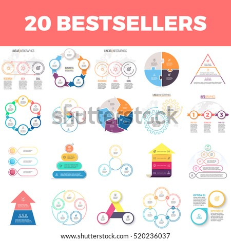 Business infographics. Infographic elements, circles, timelines, pyramids, arrows with 2, 3, 4, 5, 6 steps, options. Vector pie charts.