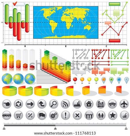 Business Infographics Kit. Vector Icons, Symbols, Elements and Graphs for your Design.