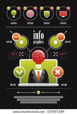 business infographics on a black background - stock vector