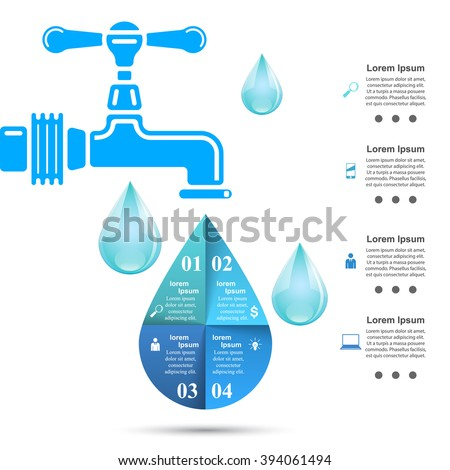 Business Infographics origami style Vector illustration. Water tap icon. Drop icon. Abstract water.
