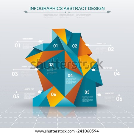 Business Infographics polygonal design style. Can be used for workflow layout,  diagram, number options, step up options, web design. - stock vector