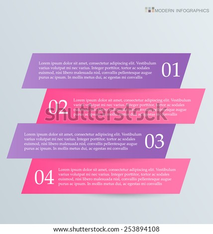 Business infographics template for presentation, education, web design, banners, brochures, flyers. Purple and pink tabs. Vector illustration.