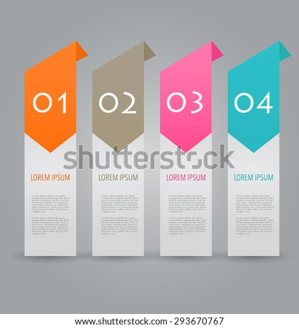 Business infographics template for presentation, education, web design, banners, brochures, flyers. Orange, brown, pink, blue color tabs. Vector illustration.