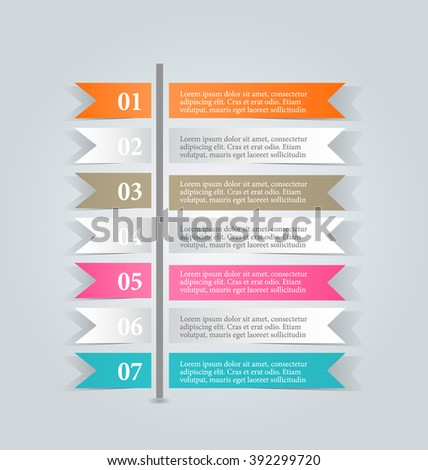 Business infographics template for presentation, education, web design, banners, brochures, flyers. Orange, brown, pink, blue color tabs. Vector illustration - stock vector