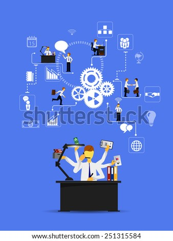 Business infographics template. Scheme with humans, icons and gears - stock vector