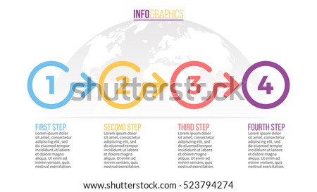 Business infographics. Timeline with 4 circles, steps, number options. Vector infographic element.