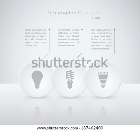 Business infographics vector illustration with light bulb icon set for workflow layout, web site design, diagram, number options - grey, white version - stock vector