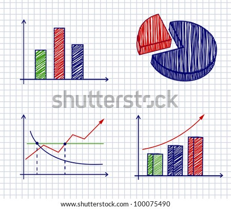 Business ink doodles chart on paper. Vector illustration. - stock vector