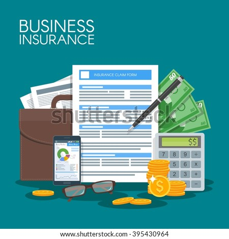 Business insurance concept vector illustration. Sign contract agreement to protect business from risks. Poster in flat style design. - stock vector
