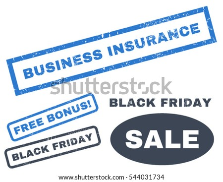 Business Insurance rubber seal stamp watermark with bonus banners for Black Friday offers. Vector smooth blue stickers. Text inside rectangular shape with grunge design and scratched texture.