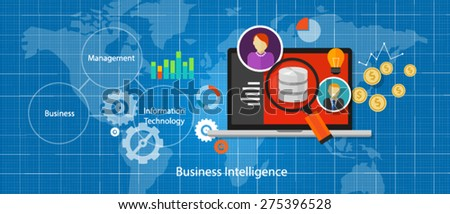 Business intelligence concept BI data analysis - stock vector