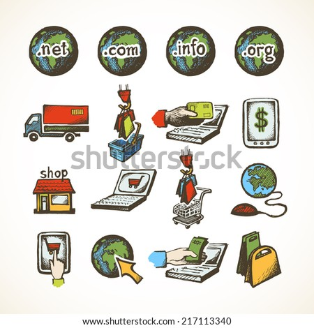 Business internet online shopping icons set of ecommerce retail domains cart purchase and global delivery sketch vector illustration - stock vector