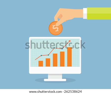 Business investment and finance. people saving money  in bank and review profit graph on monitor  - stock vector