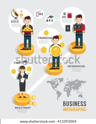 Business investment funds board game flat line icons concept infographic startup step to successful,vector illustration - stock vector