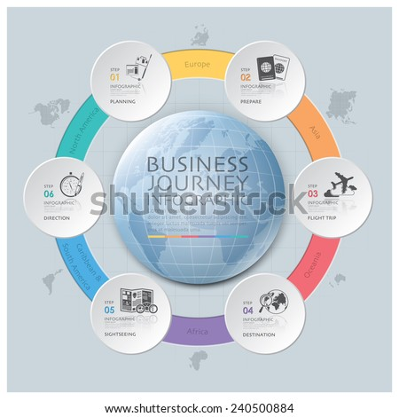 Business Journey With Global Round Circle Continent Diagram Design Template - stock vector