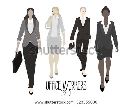 Business-ladies going forward. Vector characters isolated on white background - stock vector