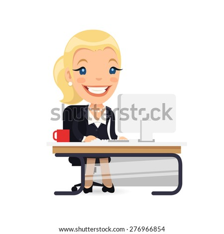 Business Lady at Her Desk. Isolated on white background. - stock vector