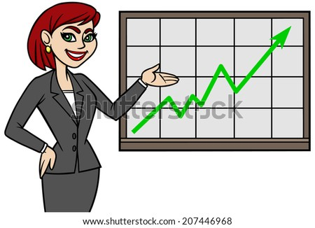 Business Lady with Chart - stock vector