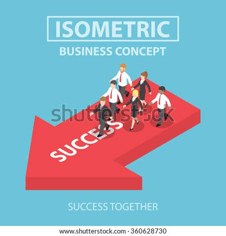 Business leader bring his team to success, Flat 3d web isometric infographics design, VECTOR, EPS10 - stock vector